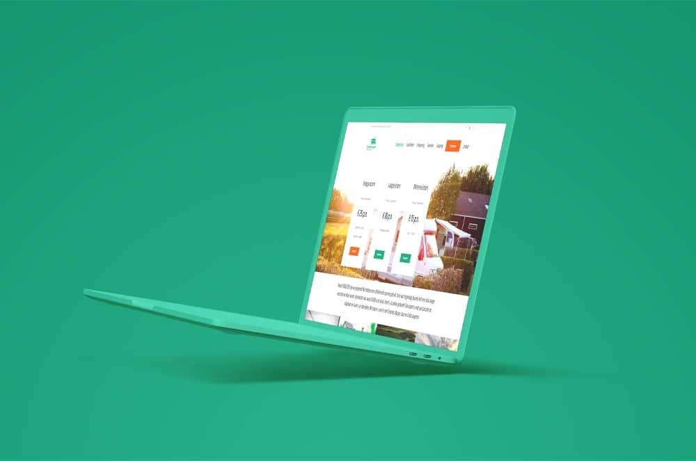 Camperpark 't Veerse Meer website op laptop