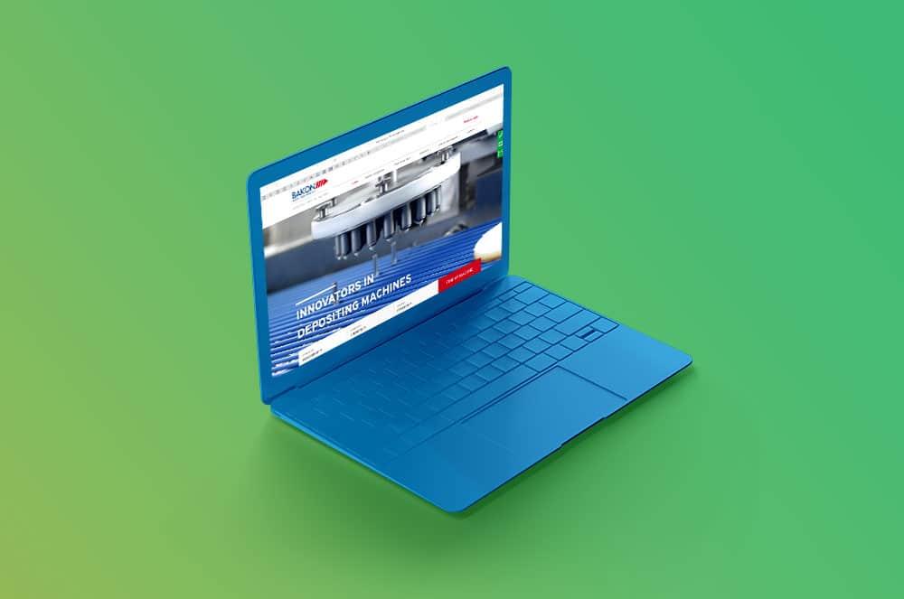 Bakon website op laptop